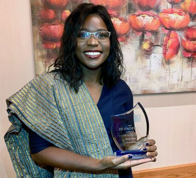 Dela Hini won a Strong Woman award for creating her pink backpack project which distributed sanitary supplies, toiletries and cosmetics to exploited and marginalized women in Kelowna.