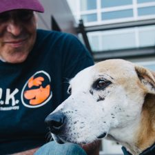 UBCO Associate Professor John-Tyler Binfet, whose research focusses on measuring kindness in schools, children and adolescents, practices what he preaches. Binfet poses with his new rescue dog Craig.