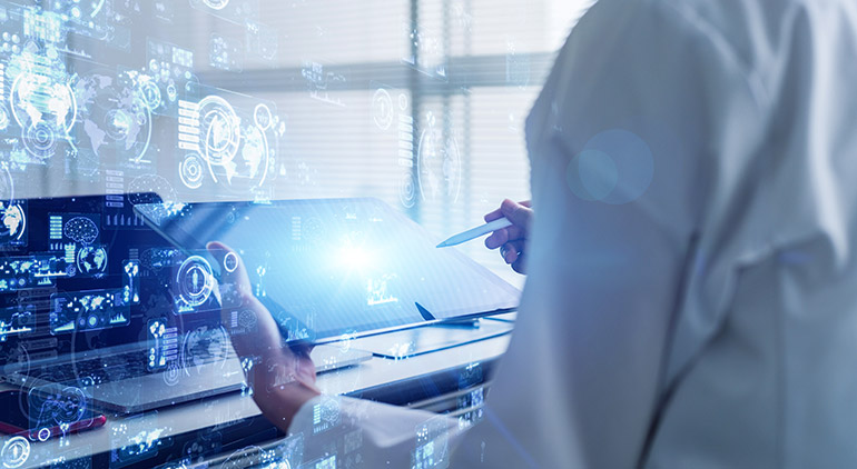 A physician uses data science in healthcare research.