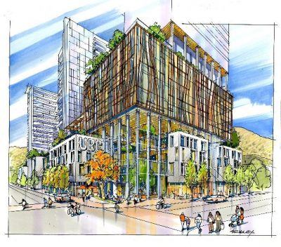 An artists rendering of the new UBC presence in downtown Kelowna.