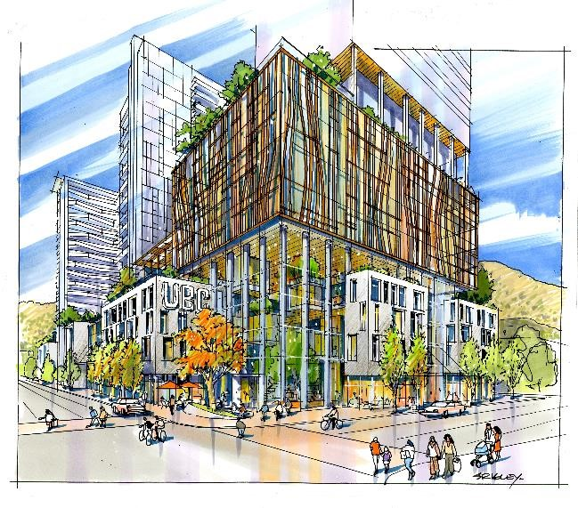 An artists conceptual rendering of the new UBC presence in downtown Kelowna.