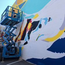 The mural represents a CTQ Consultants engineering project that helped protect fish habitat at Harrison Hot Springs.