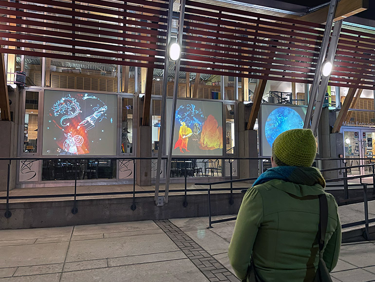 <em>Celestial Bodies: Four Stories</em> of the Night Sky, projections will be shown at the Rotary Centre for the Arts until February 28.