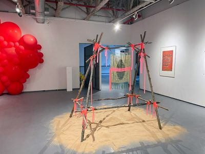 The art of BFA students Pip Dryden and Avery Ullyot-Comrie shares studio space with Professor Briar Craig in UBCO's Fina Gallery during the Spring Festival of the Arts.