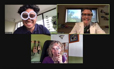 UBCO Clinical Associate Professor Dr. Evelyn Cornelissen has a virtual conversation with students Rowan Laird and Jimmy Lopez.
