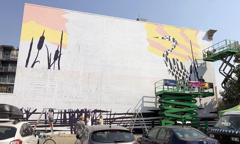 mural being painted in downtown Kelowna